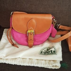 Roots tri-colour small crossbody leather bag